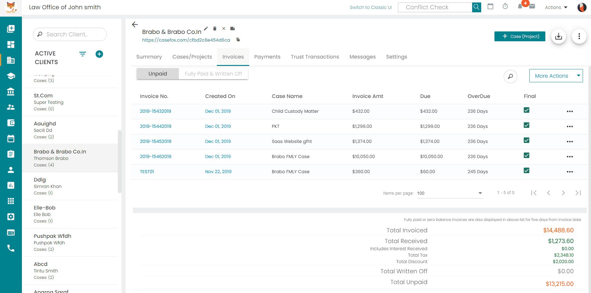 CaseFox Client Management Software