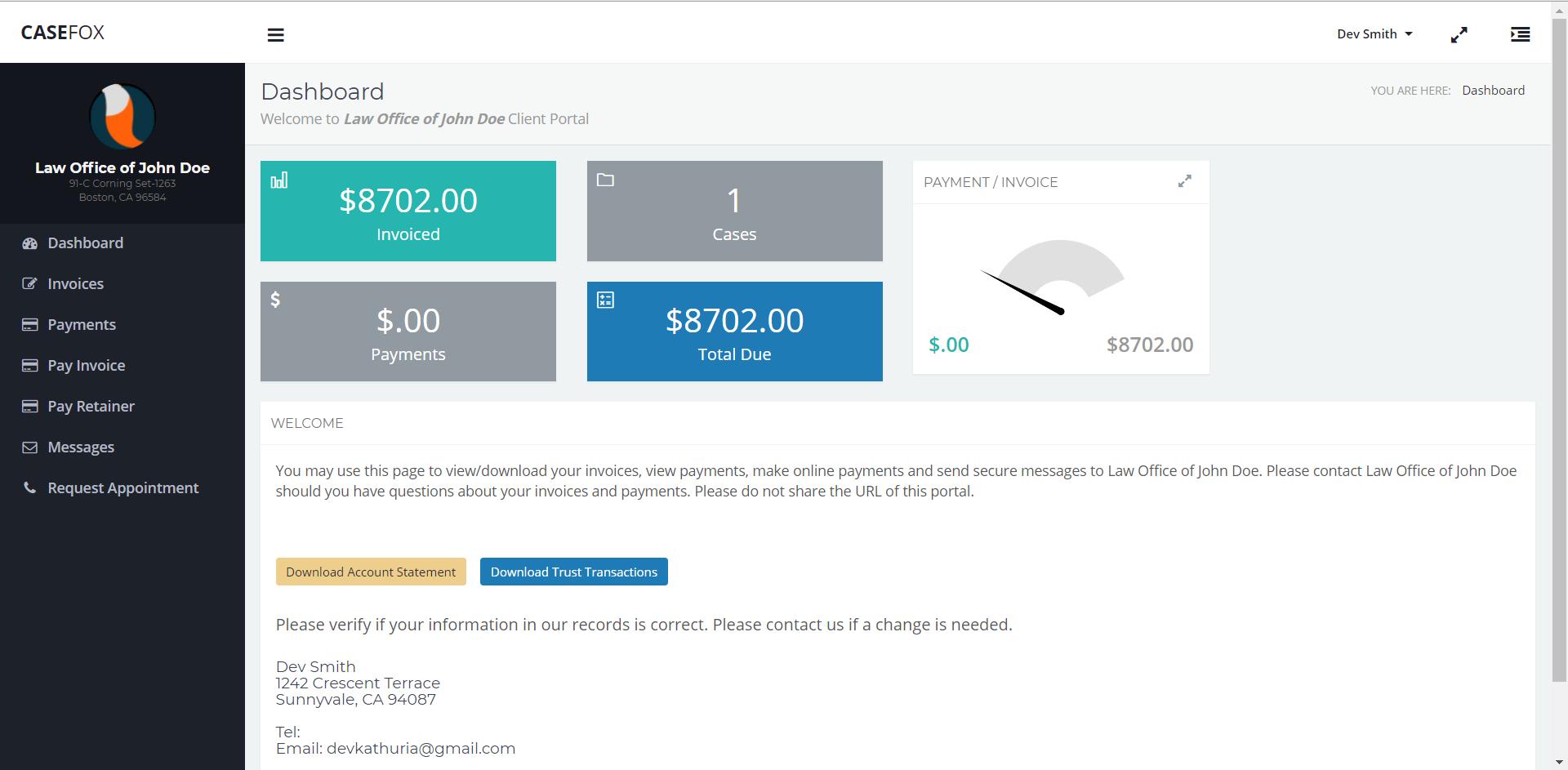 CaseFox Client Portal Dashboard