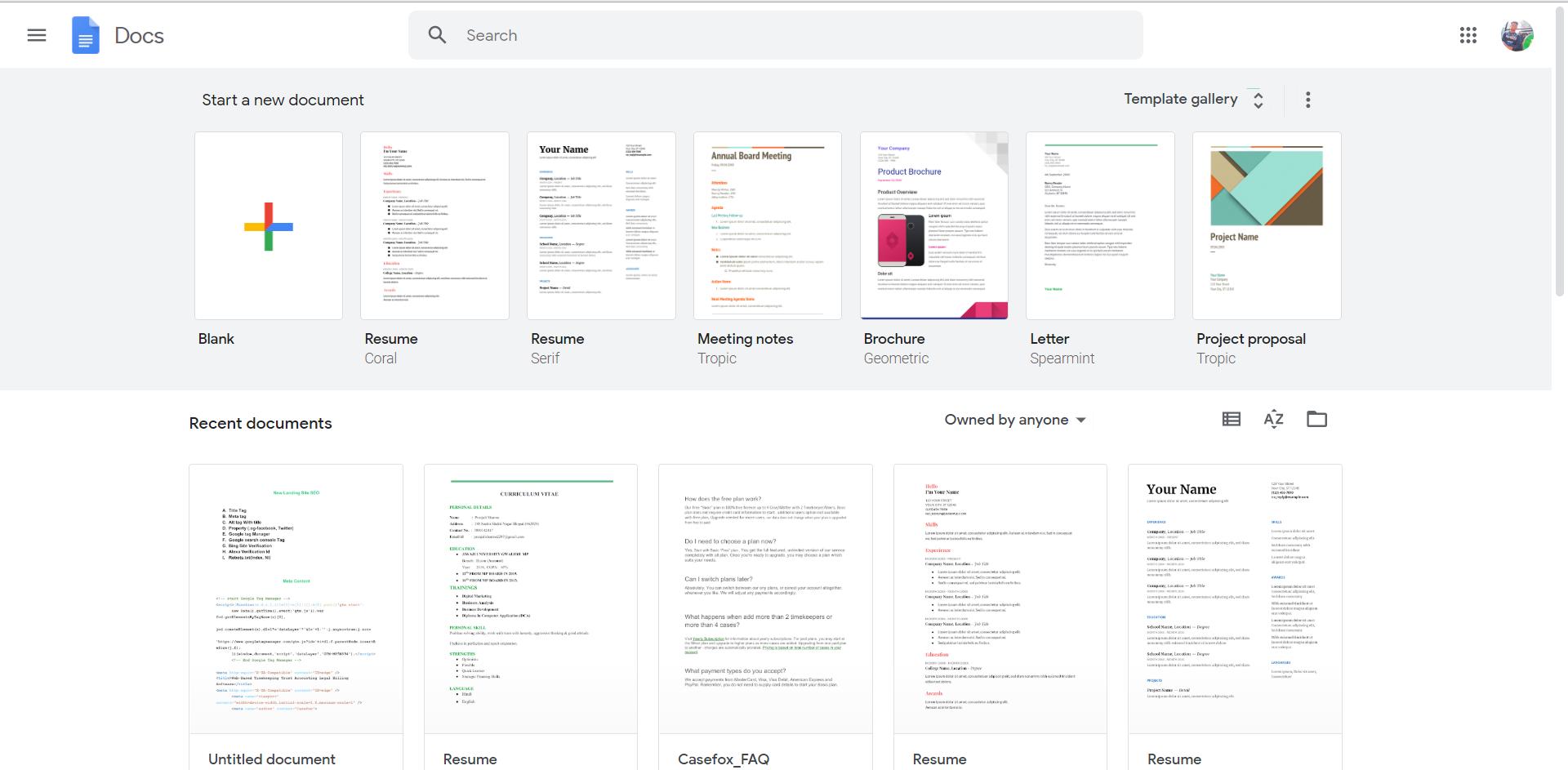 Google-Docs-dashboard